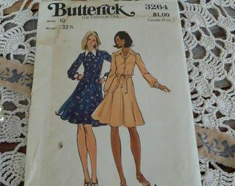 Retro Butterick UNCUT Dress Pattern - Retro Shirtwaist Dress Pattern for Ladies Size 10, Cadual Dress, Seamstress Pattern + Supply, # 3264