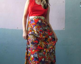 Vtg 60s 70s Psychedelic Zebra Print Maxi Dress
