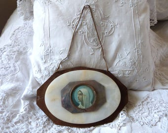 Antique French religious frame 1900s relic icon reliquary medallion w Holy virgin Mary Madonna on marble w wooden frame wall hanging