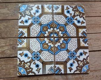 Antique en terre cuite de sol mosaïque carreaux architecture récupéré, Français vintage carreaux en céramique de récupération architectural décor, jeanne vie d arc