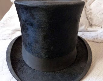 Antique French beaver top hat black opera theater Gibus steampunk top hat victorian mens stovepipe top hat man accessories gothic hat