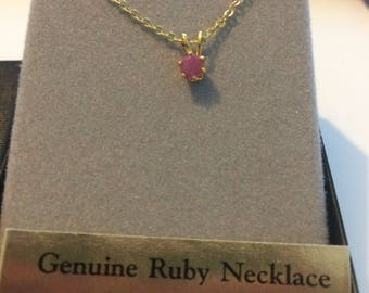 Vintage Ronte' of Beverly Hills Genuine Ruby Pendant/Necklace