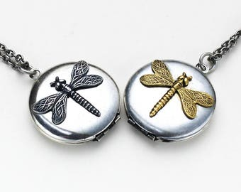 Dragonfly Locket, Dragonfly Necklace, Dragonfly Lockets Necklace, Dragonfly Pendant, Dragonfly Jewelry, Locket Necklace For Women, Locket