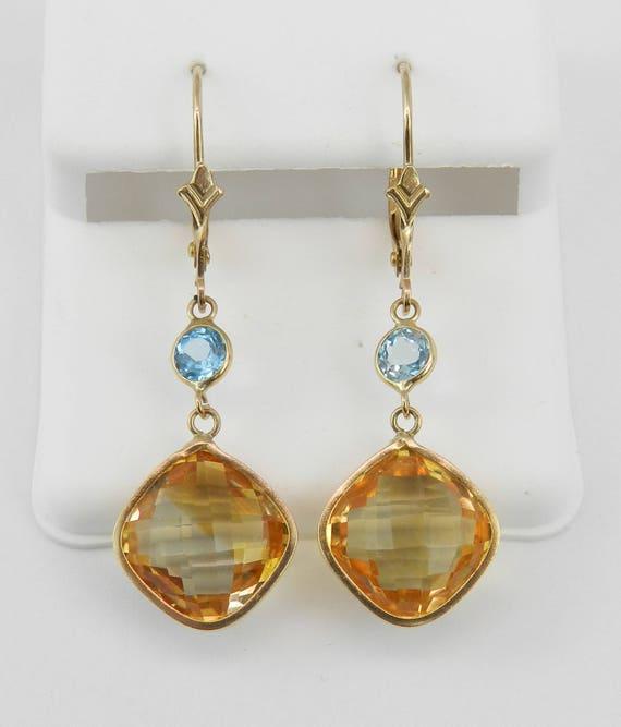 Yellow Gold Blue Topaz and Cushion Cut Citrine Drop Earrings November Birthstone