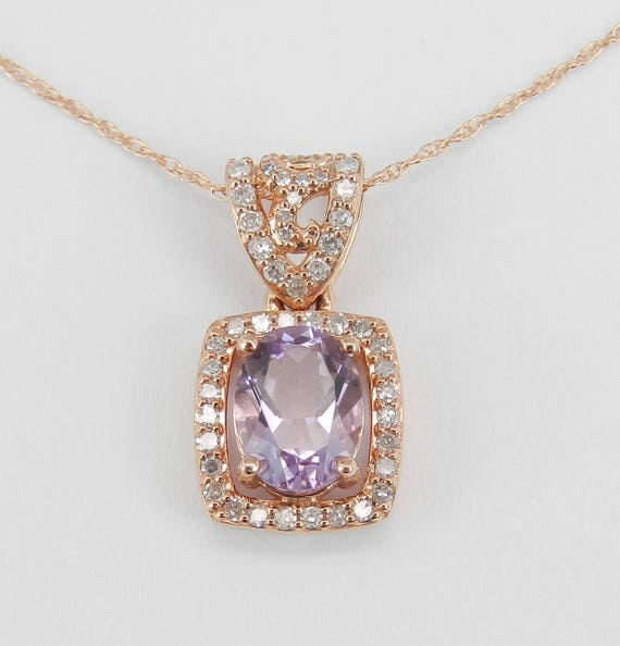 "Amethyst and Diamond Pendant Necklace 14K Rose Gold 18"" Chain February Birthday"