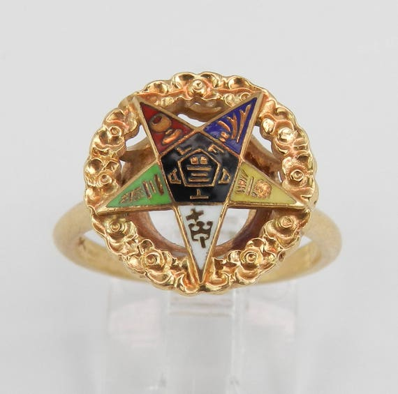 Vintage Yellow Gold Enamel Masonic Ring Order of the Eastern Star Size 5.75