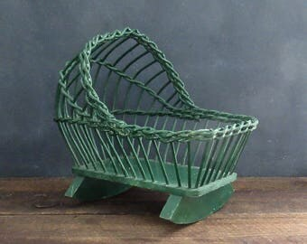 Vintage Wicker Doll Cradle, Wicker Doll Furniture, Farmhouse Decor