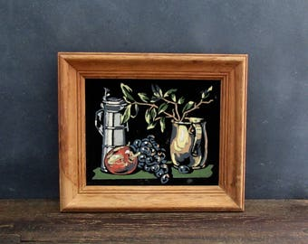 Paint By Number on Black Velvet, Vintage Framed PBN Still Life
