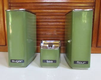 Vintage Lincoln Beautyware Avocado Olive Green Storage Canisters
