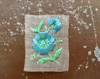 Silk appliqué flower patch vintage blue rose embroidered patch original unused on gauze vintage sewing supply bohemian Art Deco sew on