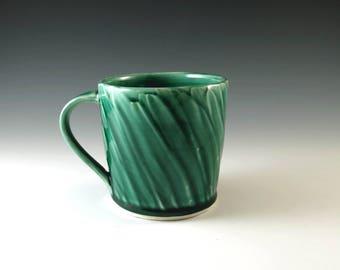 Handmade Pottery Mug, Large Mug, Wheel Thrown Pottery Mug, Green Mug,Ceramic Coffee Cup, Teacup, Tea Mug, 16 oz., Pottery and Ceramics, M217