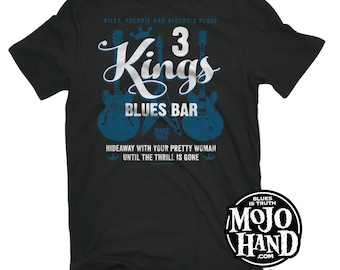 Blues Music T-shirt - 3 Kings Blues bar tee from mojohand.com - FRONT PRINT