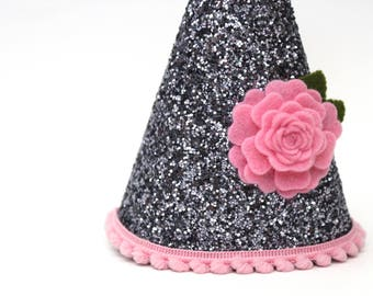 Dog Party Hat Dog Birthday Hat Grey and Pink Glitter Party Hat