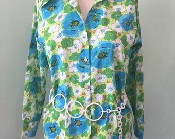 70s Blouse Top Shirt Bright Blue Green Floral Disco Day Glow Psychedelic Plus Size XL Large