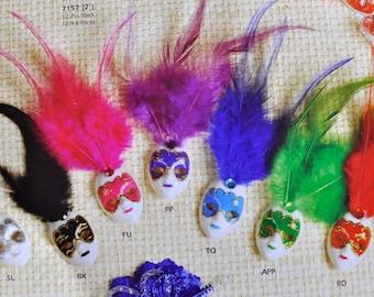 Mini Mardi Gras Feathered Glitter Clip Mask Venetian Masquerade Decoration Masks