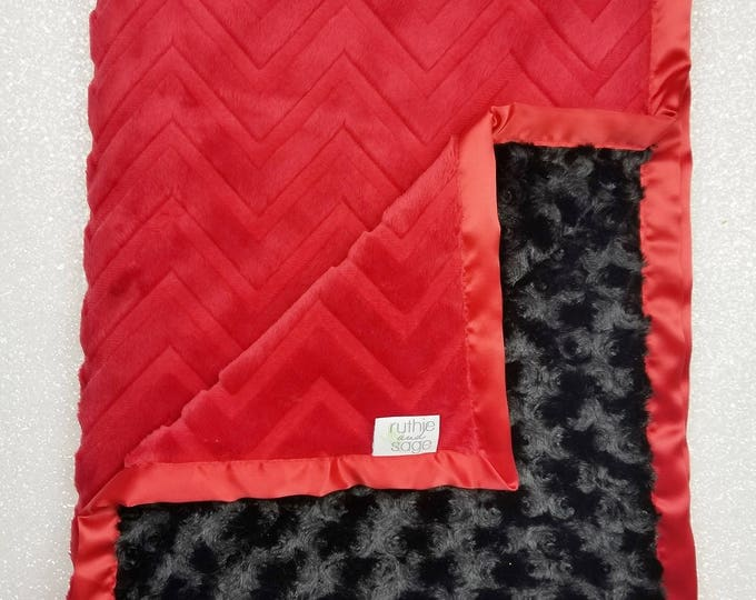 Minky Blanket, Baby boy, blanket for boy, red and black, soft blanket, custom minky, Navy and Grey, Embossed chevron, lovie, rose minky
