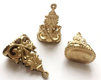 Chatelaine Drop, Brass Watch Fob, 3 Piece, Art Nouveau Design, Raw Brass, Vintage Jewerly Supplies, Bsue Boutiques, 32 x 23mm, Item03261