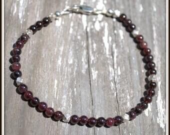 Garnet Bracelet, Men's Garnet Bracelet, Small Garnet Bead Bracelet, Garnet Layering Bracelet, Men's Small Bead Bracelet