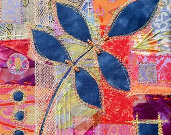 Rich embroidered beaded collage indigo blue leaf machine embroidery mixed fabrics vibrant colourful gold