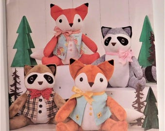 Easy to Sew Stuffed Fox and Raccoon New Simplicity Pattern 8313 Baby Toy Shower Gift Suggested Fabrics Cotton, Broadcloth, Chintz, Calico