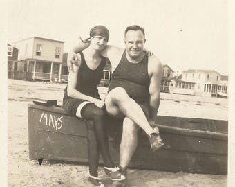 "Vintage Snapshot ""Summertime"" Beach Swimsuits Swim Stockings 1920's Found Vernacular Photo May's Rowboat"