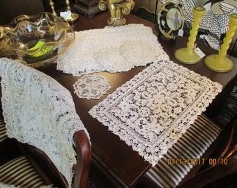 Antique Point De Venise LACE Table Runner 12 Placemats AND 12 Coasters Doilies SET