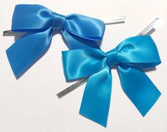 12 Copenhagen or Aegean Blue Pre-made Bow Embellishments