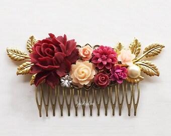 Bridal Headpiece Maroon Red Burgundy Peach Blush Wedding Hair Comb Flower Hair Slide Romantic Modern Victorian Garden Woodland Hair Pin