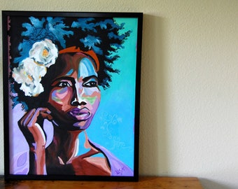 Original Acrylic Painting Framed Painting Tribal African Painting Portrait Painting Signed Acrylic Painting from The Eclectic Interior