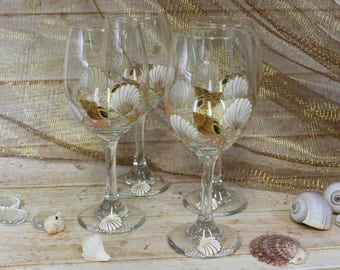 Nested Shells and Coral Wine Glasses (Set of Four)