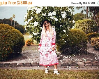 FLASH SALE 60s Red Peacock Dress Vintage White Butterfly Print Spring Maxi Dress