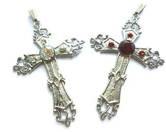 TWO for ONE Cross Pendants, Silver Fleur di Lis Cross with Red or Clear Rhinestones, Two Focal Crosses, Cross Supplies, Large Crosses