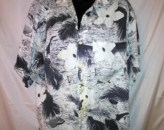 "BIG SUMMER SALE 80s Vintage Aloha Shirt-Rayon Surfer Print-Espirit Sport-Collar Loop-48"" Chest-Large-Hipster Resort Casual Beach-"
