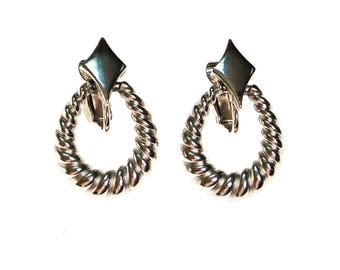 Crown Trifari Silver Cable Style Drop Earrings, Clip On, 1960s Era