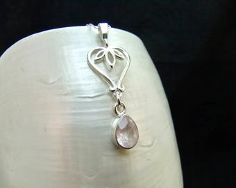Natural Morganite Sterling Silver Necklace Pendant