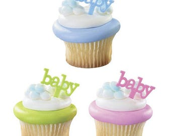 24 Baby Cupcake Picks Party Supplies Cake Toppers Baby Shower Decorations