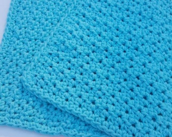 Crochet Dish Cloth Wash Cloth Washcloth Dishcloth Bathroom Spa Cloth Kitchen Dish Rag Seabreeze Set of 2 d