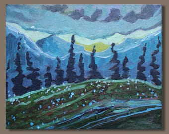 semi abstract painting, mountain art, mini painting, alpine scene, landscape painting, gift, blue mountains, western Canada, BC