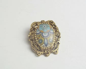 Vintage 1960's Hippie Hippy Porcelain Golden Frame Brooch Pin Mid Century Costume Jewelry Necklace Gift For Her on Etsy