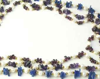1950's Vintage Statement Necklace Multi Strand Genuine Pearl Amethyst Lapis Lazuli Nuggets Fine Jewelry Mid Century Gift For Her on Etsy