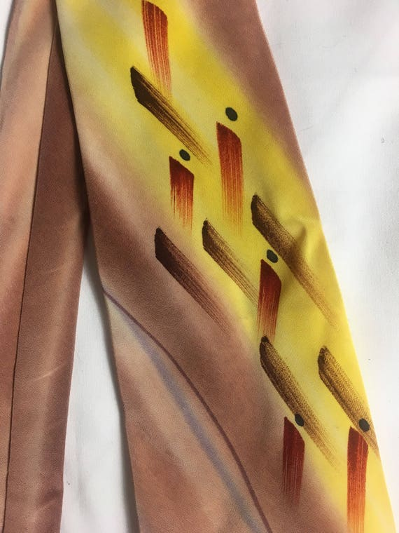 Vintage 1940s Acetate Rayon Nylon Hand Painted Mens Tie by Towncraft Deluxe