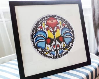 Original Papercut Wycinanki Polish Folk Art Collage Handmade