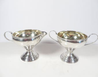 Antique Sterling Silver Cream and Sugar Set - Vintage Sterling Cream and Sugar