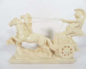 Vintage A Santini Italian Sculpture Roman Soldier on Chariot - Alabaster Resin Roman Chariot and Horses