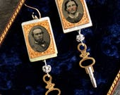 Tin type Earrings gem tin...