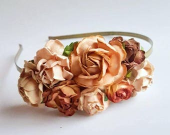 Autumn Fall Blush Sand Floral Headband Flower Fascinator Vintage Wedding Party Bridal Accessory Bridesmaid statement