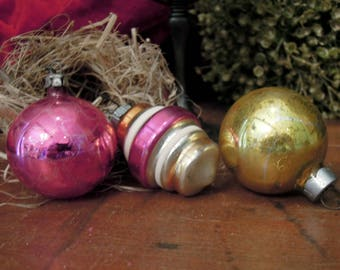 Three Vintage gold Pink Glass Ornaments / Shiny Brite Christmas Ornament / Mercury Glass Ornaments