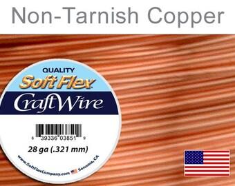 Supplies-28 Gauge Wire Round Non-Tarnish Copper Craft Wire 40 Yards