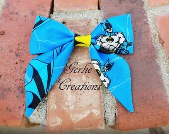 Batman Hair Bow, Batman Blue Yellow Gray, Batman, Sailor Hair Bow, Batman Sailor Hair Bow