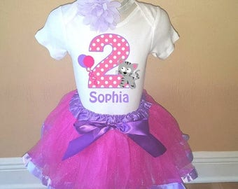 ON SALE Birthday Pink Purple Kitty Cat Personalized Shirt Tutu Headband Set - ANY Age